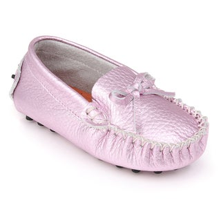 Augusta Baby Children's Metallic Pink Genuine Leather Loafers (5 options available)