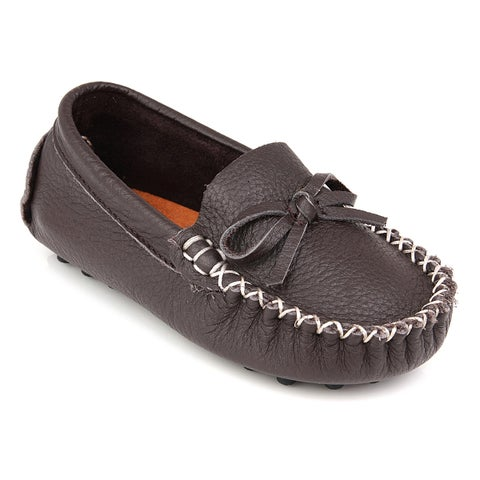 Augusta Baby Children's Brown Genuine Leather and Rubber Loafers