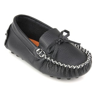 Augusta Baby Children's Black Genuine Leather Loafers (More options available)
