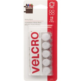 """Velcro 90070 5/8"""" White Sticky Back Coins 15-count"""