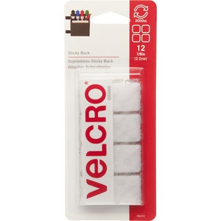 """Velcro 90073 7/8"""" White Sticky Back Squares 12-count"""