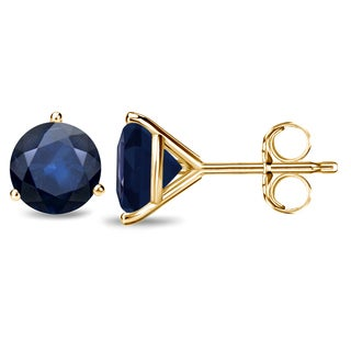 Auriya 14k Gold 3-Prong Push-Back 2ct Round-Cut Blue Sapphire Gemstone Stud Earrings