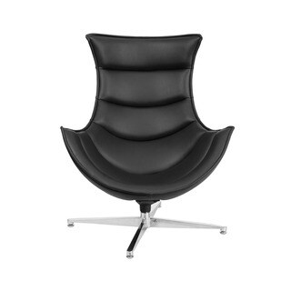 Offex Retro Style Leather Upholstery Swivel Cocoon Chair With Curved Arms