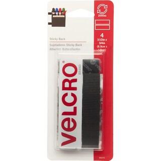 "Velcro 90075 3/4"" X 3-1/2"" Black Sticky Back Fastener Strips 4-count"