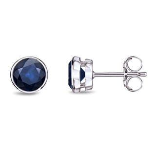 Auriya 14k Gold Bezel Push-Back 1/2ct Blue Sapphire Gemstone Stud Earrings