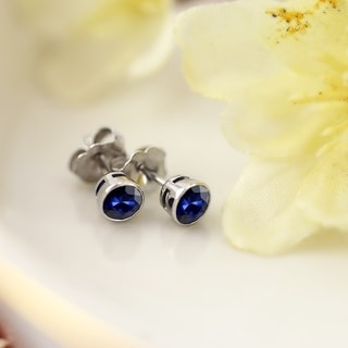 Auriya 14k Gold Bezel Push-Back 3/4ct Blue Sapphire Gemstone Stud Earrings