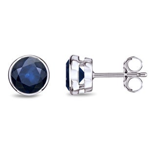 Auriya 14k Gold Bezel Push-Back 1ct Blue Sapphire Gemstone Stud Earrings