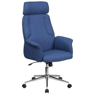 High Back Fabric Executive Swivel Chair with Chrome Base and Fully Upholstered Arms
