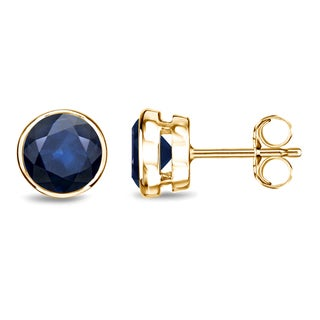 Auriya 14k Gold Bezel Push-Back 1 1/2ct Blue Sapphire Gemstone Stud Earrings