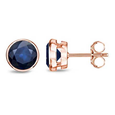 Auriya 14k Gold Bezel-set Sapphire Stud Earrings 2ctw