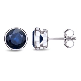 Auriya 14k Gold Bezel Push-Back 2ct Blue Sapphire Gemstone Stud Earrings