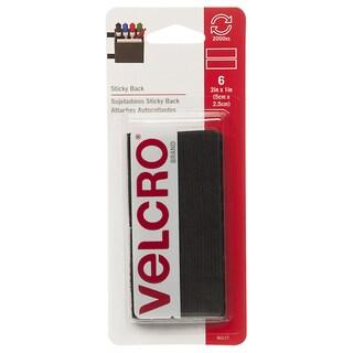 """Velcro 90117 2"""" x 1"""" Black Sticky Back Strips 6-count"""