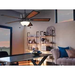 Kichler Lighting Cates Collection 52-inch Distressed Black Ceiling Fan w/Light
