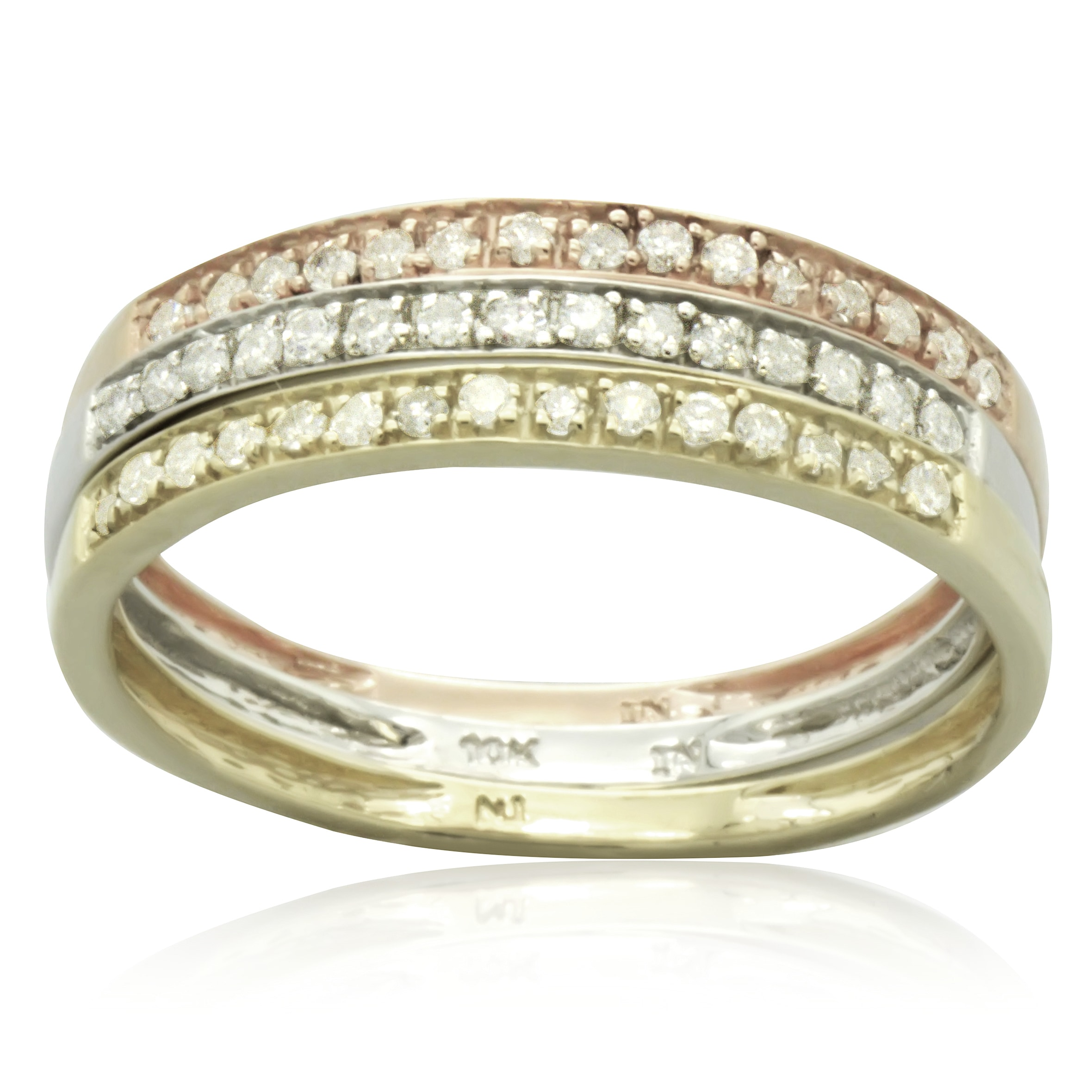 tri in rolling pinterest wedding gold pin bands ideas diamonds colored ring color