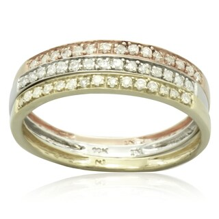 10k Tri-color gold 1/4ct TDW Round Diamond Stackable Rings
