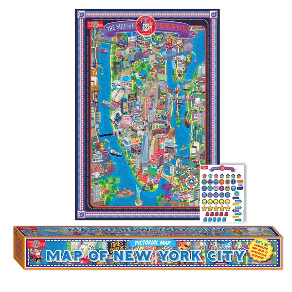 Map of New York City Laminated Poster w/Stickers