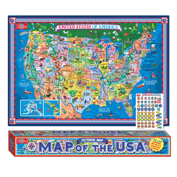 Pictorial Map Of The USA Laminated Poster w/Stickers