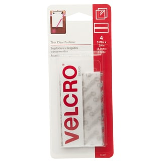 """Velcro 91327 3/4"""" X 3-1/2"""" Clear Thin Fasteners Strips 4-count"""