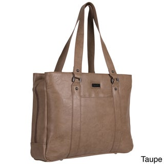 Kenneth Cole Reaction Triple Compartment Pebbled Faux-leather Top-zip 15-inch Computer Business Tote Bag (Option: Taupe)