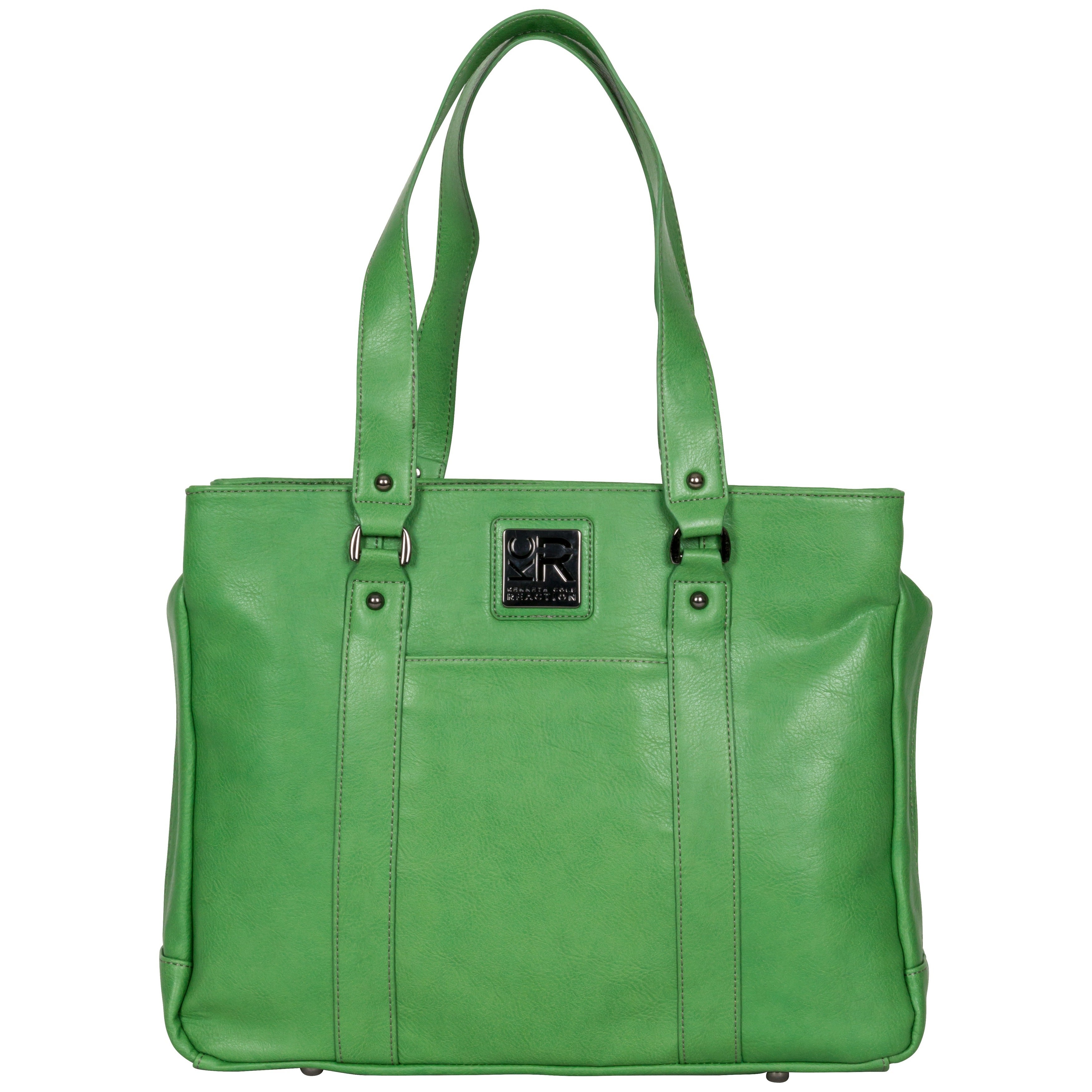 Kenneth Cole Reaction Triple Compartment Pebbled Faux Leather Top Zip 15 Inch Computer Business Tote Bag
