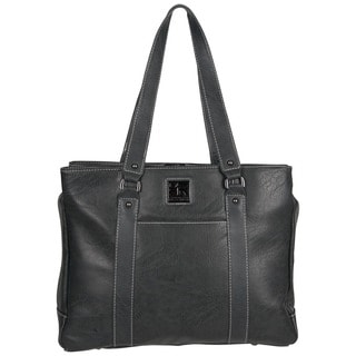 Kenneth Cole Reaction Solid-colored Faux-leather Pebbled Top-zip 15-inch Laptop Tote Bag