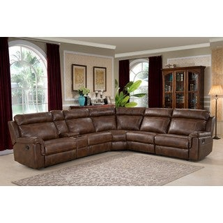 AC Pacific Clark Brown Polyester/Wood/Steel/Foam 6-piece Reclining Living Room Sectional Sofa Set