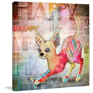 Marmont Hill - 'Happy' by Connie Haley Painting Print on Wrapped Canvas