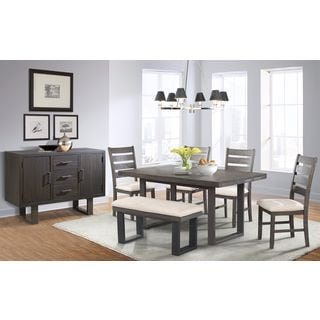 Picket House Sullivan Dining Table, 4 Side Chairs, Bench & Server