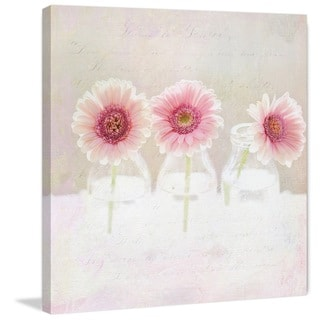 Marmont Hill - '3 Daisies' by Sylvia Cook Painting Print on Wrapped Canvas