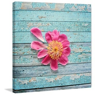 Marmont Hill - 'Peony On Aqua' by Sylvia Cook Painting Print on Wrapped Canvas