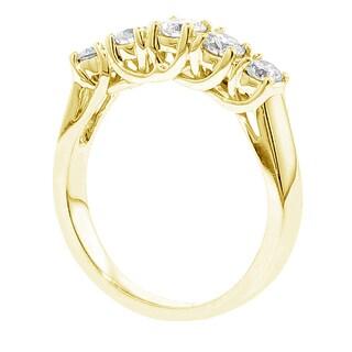 14k/18k Yellow Gold 1ct TDW Braided Prong-set Round Diamond Wedding Band (G-H, SI1-SI2)