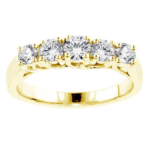 14k Yellow Gold 1ct TDW Braided Prong-set Round Diamond Wedding Band