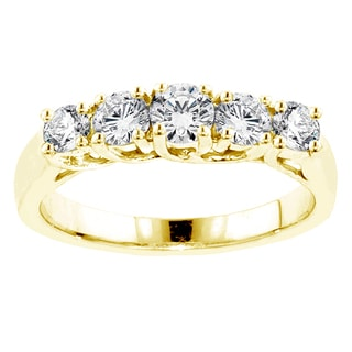 14k/18k Yellow Gold 1ct TDW Braided Prong-set Round Diamond Wedding Band (G-H, SI1-SI2)