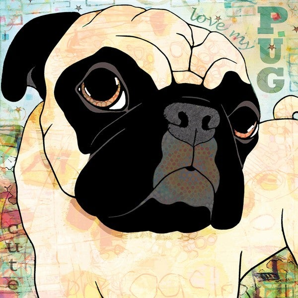 Marmont Hill - 'Pug Mug II' Painting Print on Wrapped Canvas