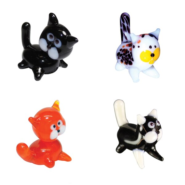 Looking Glass 4-Pack Black Cat, Calico, Tabby, Kitty Kat