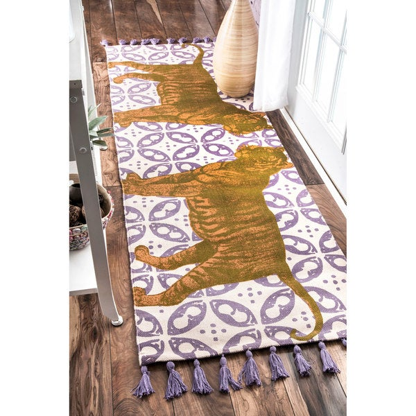 nuLOOM Handmade by Thomas Paul Cotton Printed Tiger Runner Rug (2'8 x 8')