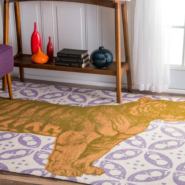 nuLOOM Handmade by Thomas Paul Cotton Printed Tiger Rug - multi - 4' x 6'