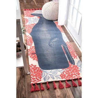 nuLOOM Handmade by Thomas Paul Cotton Printed Whale Runner Rug