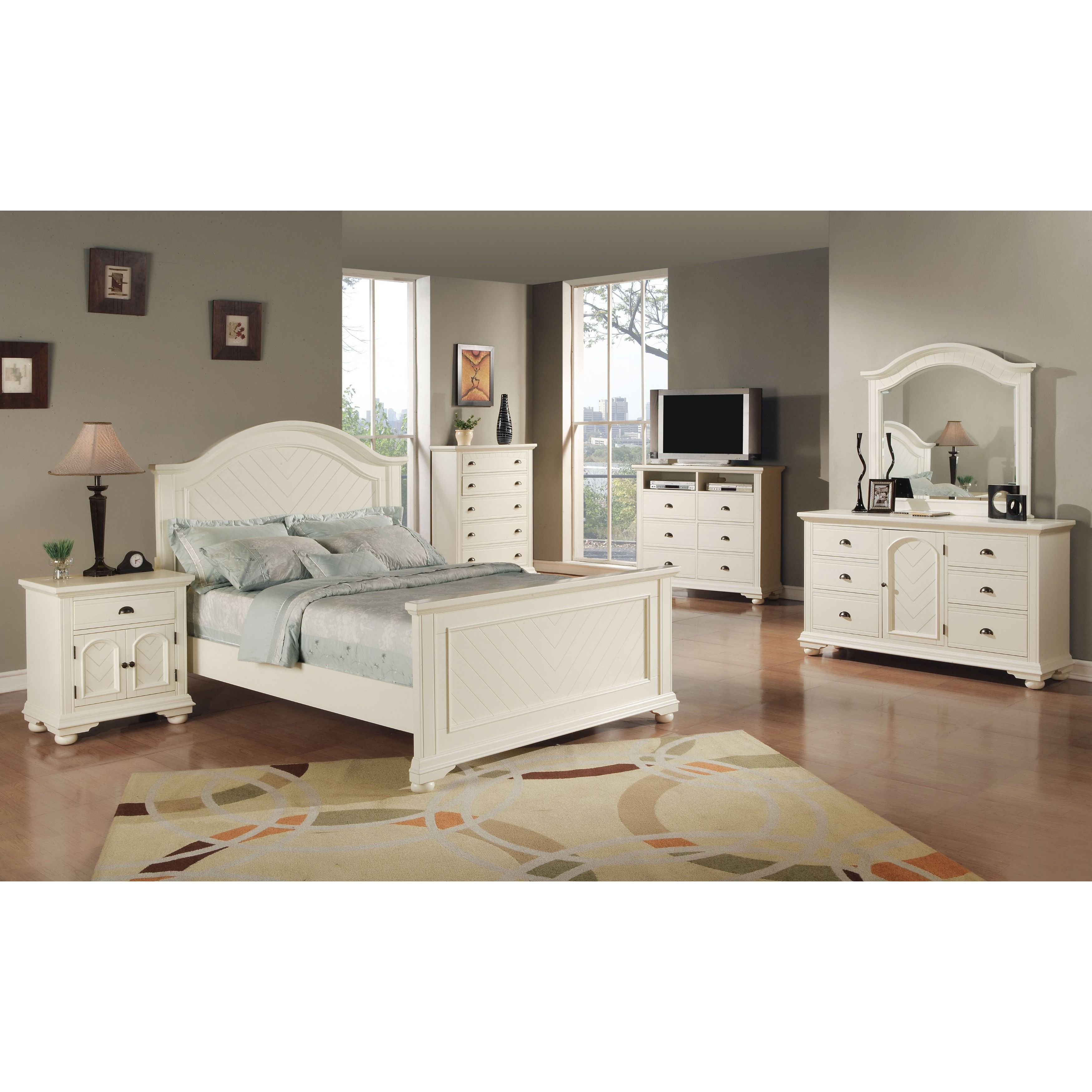 Picket House Furnishings Addison White Queen Panel 6PC Bedroom Set