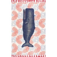 nuLOOM Handmade by Thomas Paul Cotton Printed Whale Rug (5' x 8') - 5' x 8'