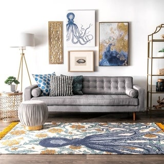 nuLOOM Handmade by Thomas Paul Cotton Printed Octopus Runner Rug (2'8 x 8')