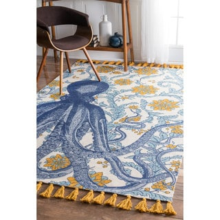nuLOOM Handmade by Thomas Paul Cotton Printed Octopus Rug (5' x 8')