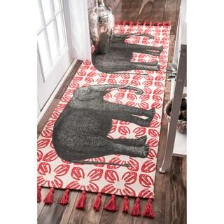 nuLOOM Handmade by Thomas Paul Cotton Printed Elephant Area Rug