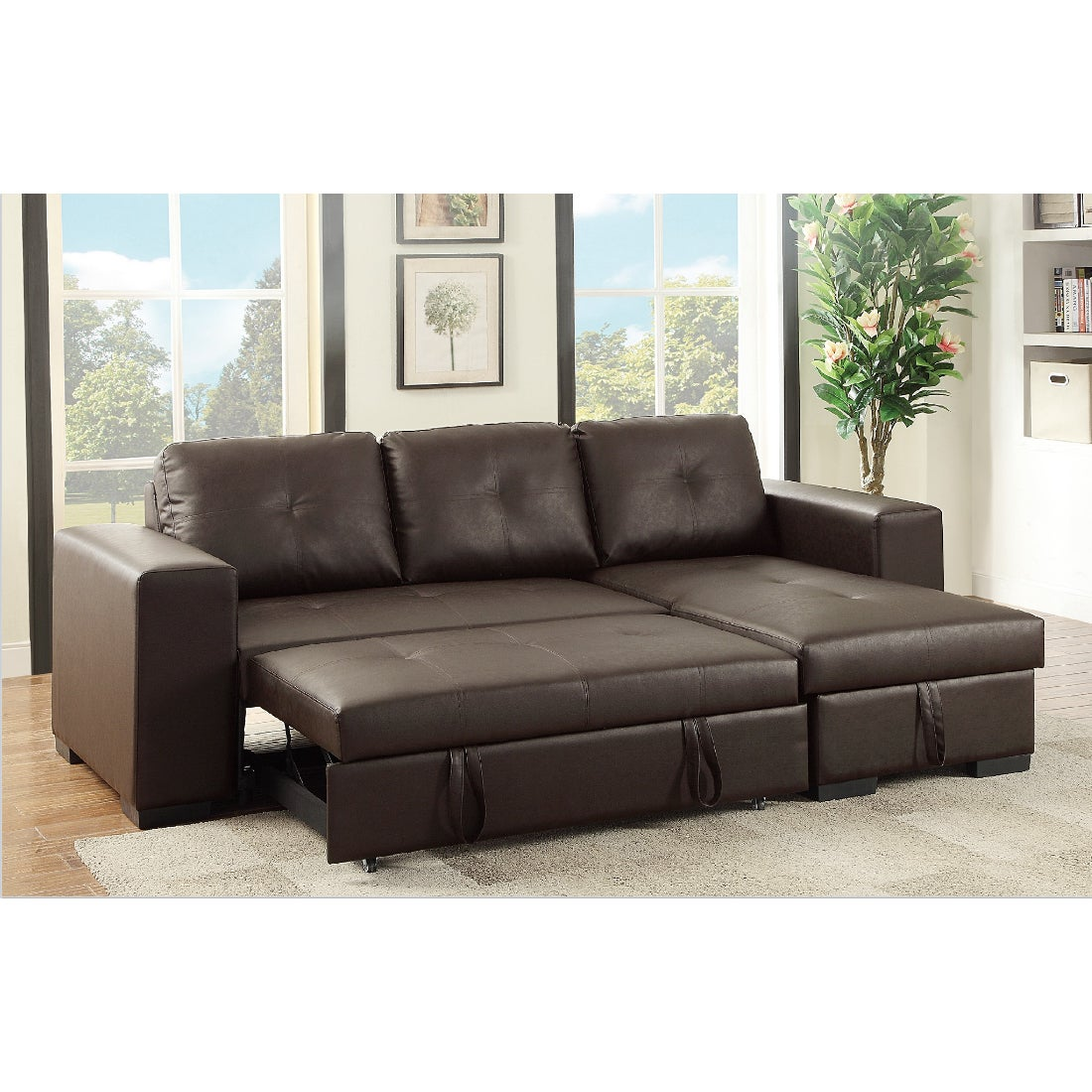 Nadim Convertible Pullout Bed Sectional Sofa (Light Coffe...
