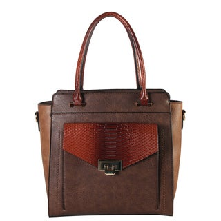 Diophy Snakeskin-print Push-lock Pocket Tote Bag