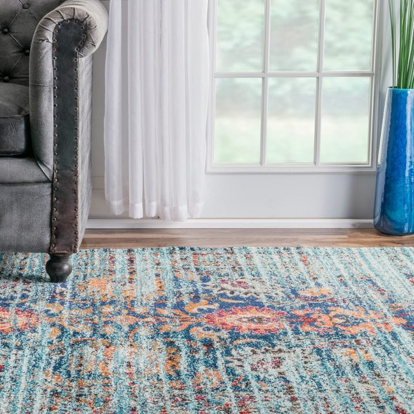 Shop NuLOOM Traditional Flower Persian Distressed Aqua Rug