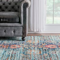 "nuLOOM Traditional Flower Persian Distressed Aqua Rug (7'10 x 11') - 7'10"" x 11'"