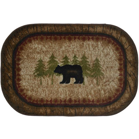 "Brown Nylon Birch Bear Kitchen Accent Nonslip Lodge Cabin Mat - 2'6"" x 3'10"""