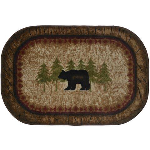 """Brown Nylon Birch Bear Kitchen Accent Nonslip Lodge Cabin Mat - 2'6"""" x 3'10"""""""