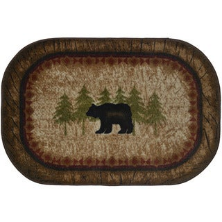 Brown Nylon Birch Bear Kitchen Accent Nonslip Lodge Cabin Mat - 2'6 x 3'10